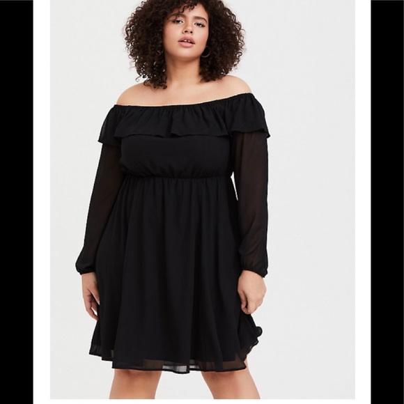 torrid Dresses & Skirts - BLACK CHIFFON OFF SHOULDER RUFFLE SKATER DRESS